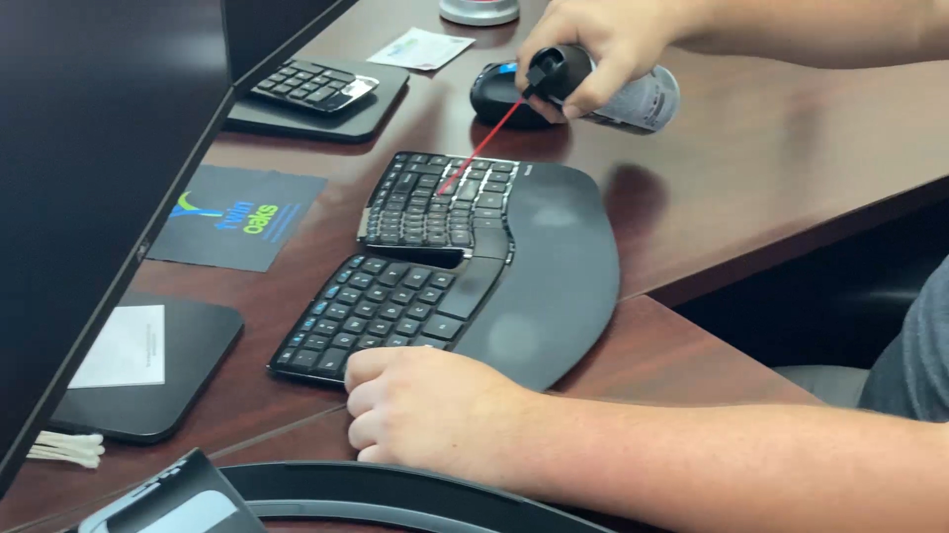 Clean keyboard, sanitize keyboard, disinfect keyboard, sanitize work areas